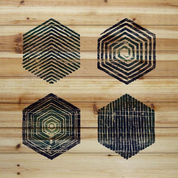 Marmont Hill - Handmade Hexagonal Quad Painting Print on Natural Pine Wood