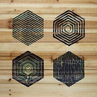 Marmont Hill - 'Hexagonal Quad' Painting Print on Natural Pine Wood