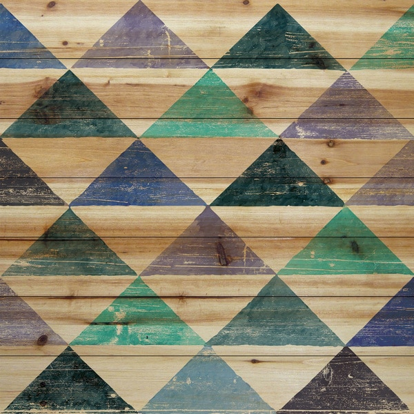 Marmont Hill - Handmade Pastel Triangles Painting Print on Natural Pine Wood