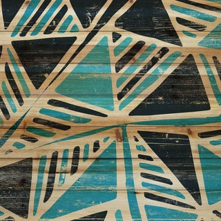 Marmont Hill - Handmade Teal Triangles Painting Print on Natural Pine Wood