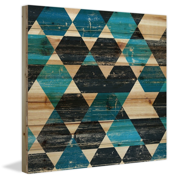 Marmont Hill - Handmade Peeking Blue Painting Print on Natural Pine Wood
