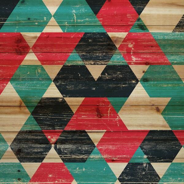 Marmont Hill - Handmade Splashing Red Painting Print on Natural Pine Wood