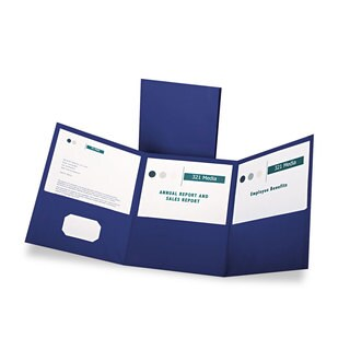 Oxford Tri-Fold Folder with 3 Pockets Holds 150 Letter-Size Sheets Blue