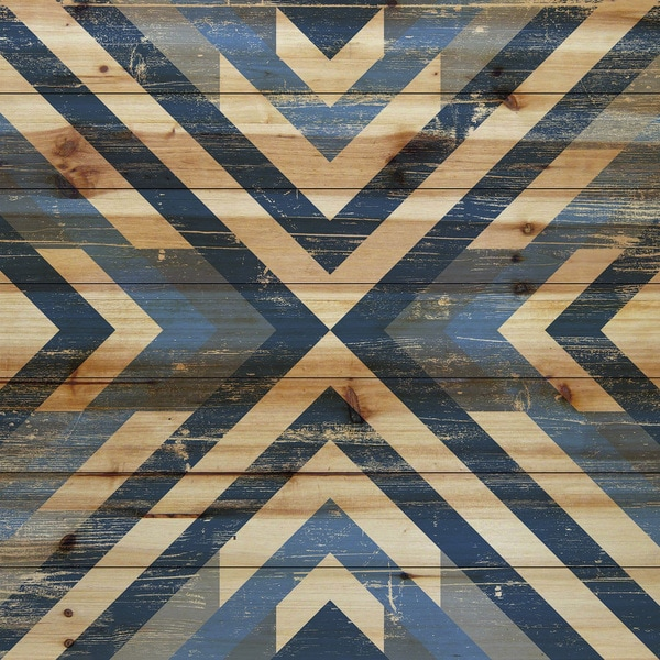 Marmont Hill - Handmade Converging Blues Painting Print on Natural Pine Wood