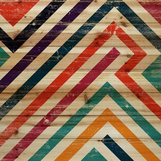 Marmont Hill - Handmade Paths of Color Painting Print on Natural Pine Wood