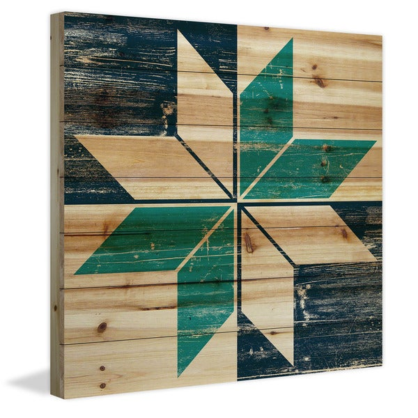 Marmont Hill - Handmade Green Petals Painting Print on Natural Pine Wood