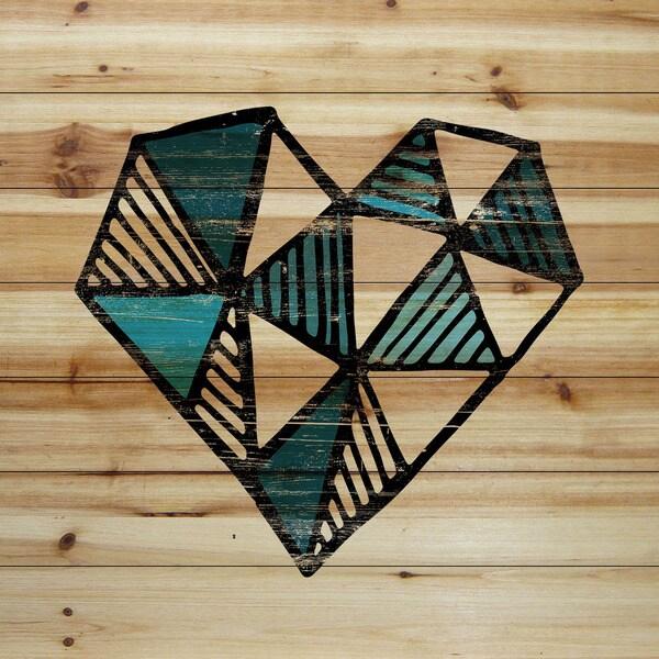 Marmont Hill - Handmade Indigo Heart Painting Print on Natural Pine Wood