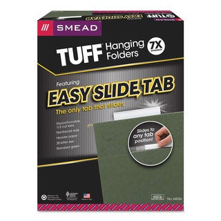 Smead Tuff Hanging Folder with Easy Slide Tab Letter Standard Green 20/Pack