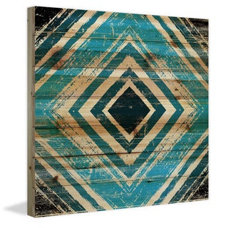 Marmont Hill - Handmade Blue Square Rings Painting Print on Natural Pine Wood