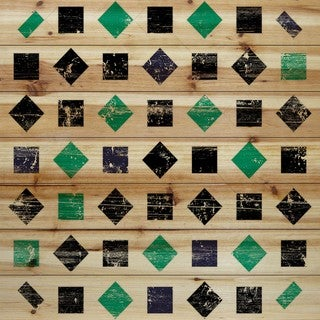 Marmont Hill - Handmade Green Squares Painting Print on Natural Pine Wood