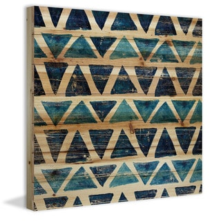 Marmont Hill - Handmade Blue Rows Painting Print on Natural Pine Wood