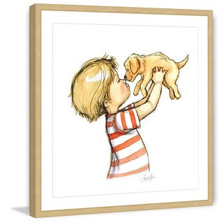 Marmont Hill - 'Puppy Loves Boy' by Phyllis Harris Framed Painting Print