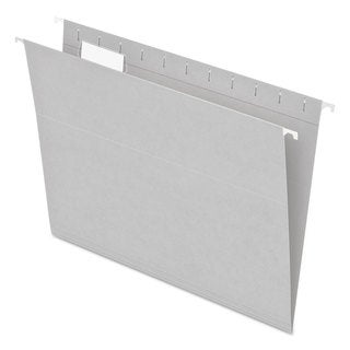 Pendaflex Essentials Colored Hanging Folders 1/5 Tab Letter Grey 25/Box