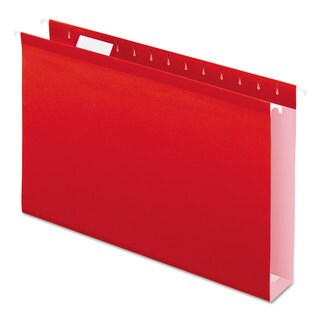 Pendaflex Reinforced 2 inches Extra Capacity Hanging Folders 1/5 Tab Legal Red 25/Box