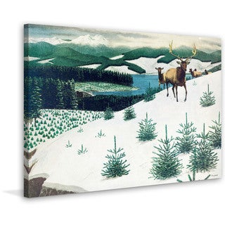 Marmont Hill - 'Elk in Snow' Painting Print on Wrapped Canvas