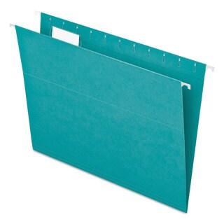 Pendaflex Essentials Colored Hanging Folders 1/5 Tab Letter Aqua 25/Box