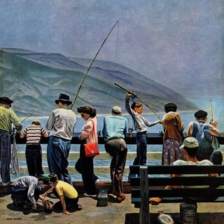 Marmont Hill - 'Pier Fishing' Painting Print on Wrapped Canvas