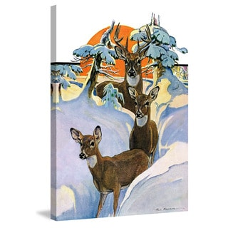 Marmont Hill - 'Snow Deer' Painting Print on Wrapped Canvas