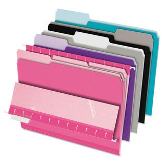 Pendaflex Interior File Folders 1/3 Cut Top Tab Letter Pastel Assortment 100/Box