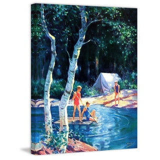 Marmont Hill - 'Summer Camping' Painting Print on Wrapped Canvas