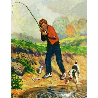 Marmont Hill - 'Boy Fishes' Painting Print on Wrapped Canvas
