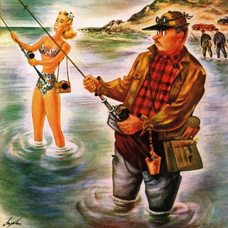 Marmont Hill - 'Bikini Fishing' Painting Print on Wrapped Canvas