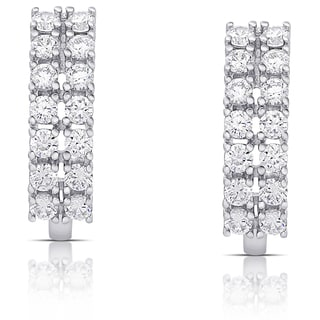Dolce Giavonna Sterling Silver Cubic Zirconia Double-Row Earrings