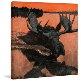 Marmont Hill - 'Swimming Moose' Painting Print on Wrapped Canvas