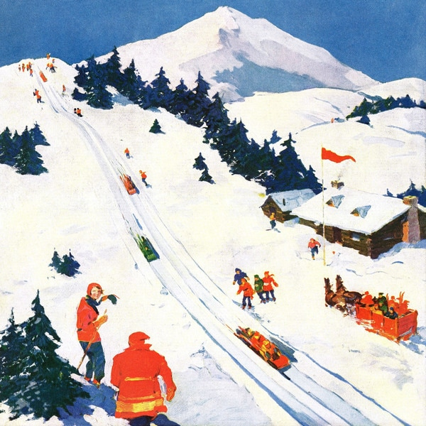 Marmont Hill - 'Winter Sports' Painting Print on Wrapped Canvas - White