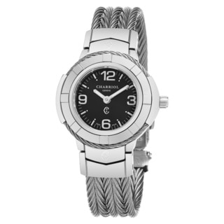 Charriol Women's CE426S.640.A003 'Celtic' Black Dial Stainless Steel Swiss Quartz Watch