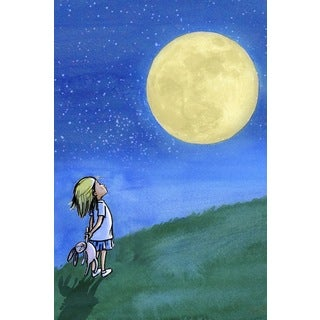 Marmont Hill - 'Girl and Moon' by Phyllis Harris Painting Print on Wrapped Canvas