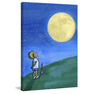 Marmont Hill - 'Boy and Moon' by Phyllis Harris Painting Print on Wrapped Canvas