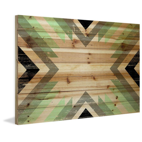 Marmont Hill - Handmade Green Paths Painting Print on Natural Pine Wood