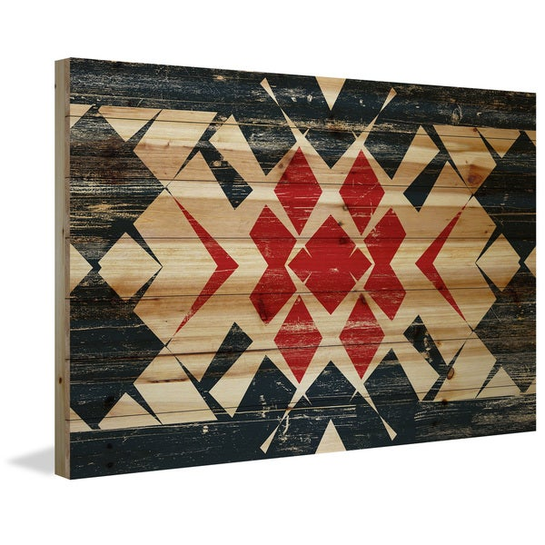 Marmont Hill - Handmade Red Comes Through Painting Print on Natural Pine Wood