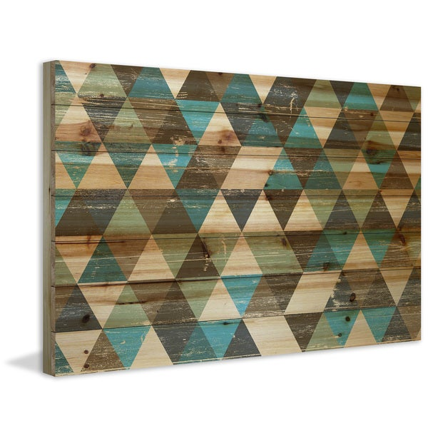 Marmont Hill - Handmade Tans and Blues Painting Print on Natural Pine Wood