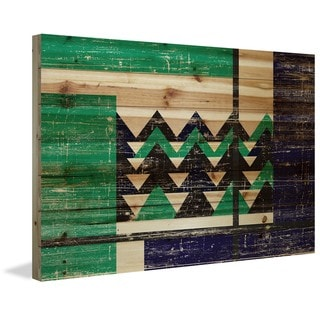 Marmont Hill - Handmade Green Teeth Painting Print on Natural Pine Wood
