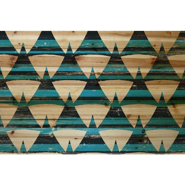 Marmont Hill - Handmade Tentlike Rows Painting Print on Natural Pine Wood