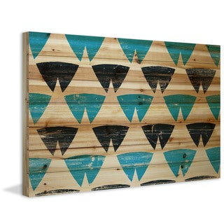 Marmont Hill - Handmade Split Triangles Painting Print on Natural Pine Wood