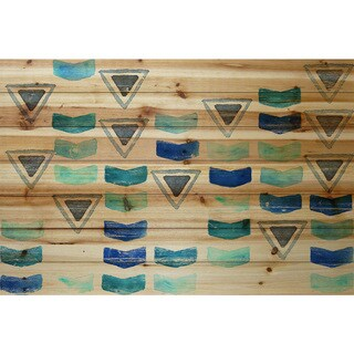 Marmont Hill - Handmade Floating Triangles Painting Print on Natural Pine Wood