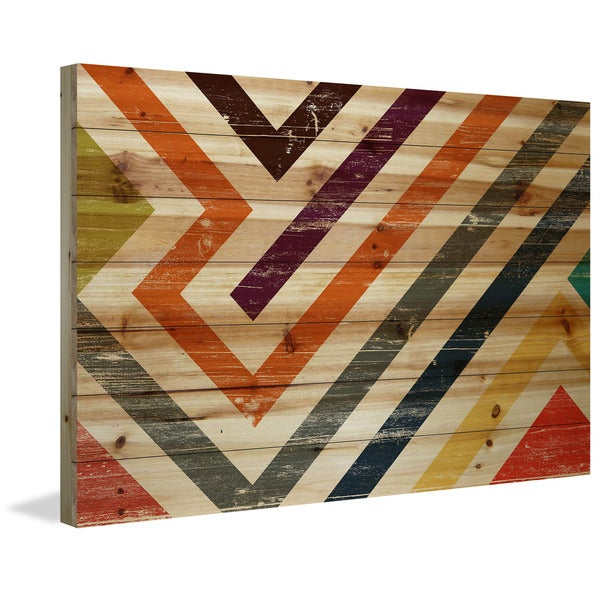 Marmont Hill - Handmade Color Paths Painting Print on Natural Pine Wood