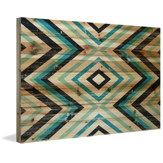 Marmont Hill - Handmade Blue Green Vortex Painting Print on Natural Pine Wood