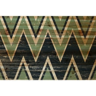 Marmont Hill - Handmade Green Black Zigs Painting Print on Natural Pine Wood