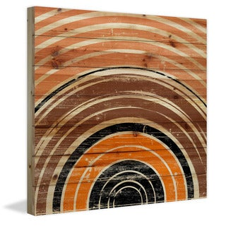 Marmont Hill - Handmade Orange Rings Painting Print on Natural Pine Wood