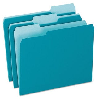 Pendaflex Colored File Folders 1/3 Cut Top Tab Letter Teal/Light Teal 100/Box