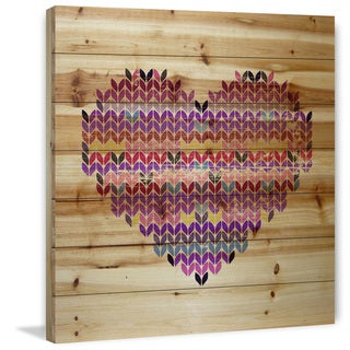 Marmont Hill - Handmade Squiggle Heart Painting Print on Natural Pine Wood