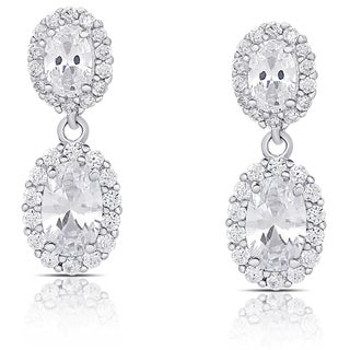 Samantha Stone Sterling Silver Cubic Zirconia Oval Dangle Earrings