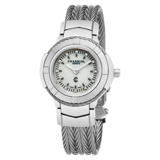Charriol Women's CE426S.640.010 'Celtic' Mother of Pearl Diamond Dial Stainless Steel Swiss Quartz Watch