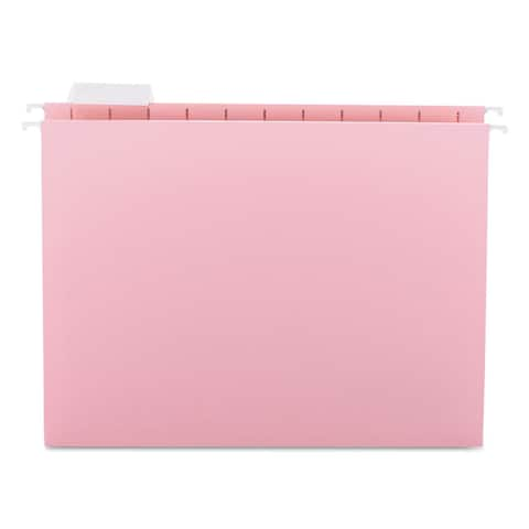 Smead Hanging File Folders 1/5 Tab 11 Point Stock Letter Pink 25/Box