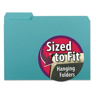 Smead Interior File Folders 1/3 Cut Top Tab Letter Aqua 100/Box