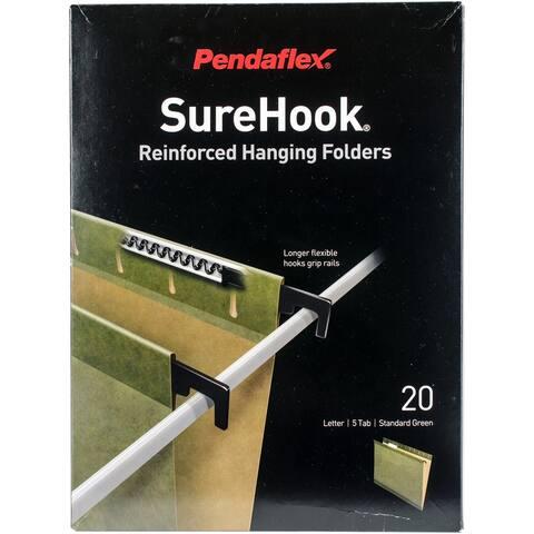Pendaflex SureHook Poly Laminate Reinforced Hanging Folders 1/5 Tab Letter Green 20/Box
